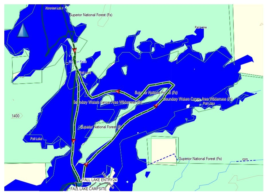 Fall Lake canoe Day Trip route