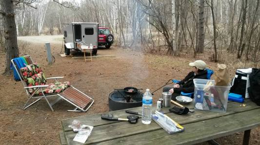 Spring camping at Moose Lake State Park