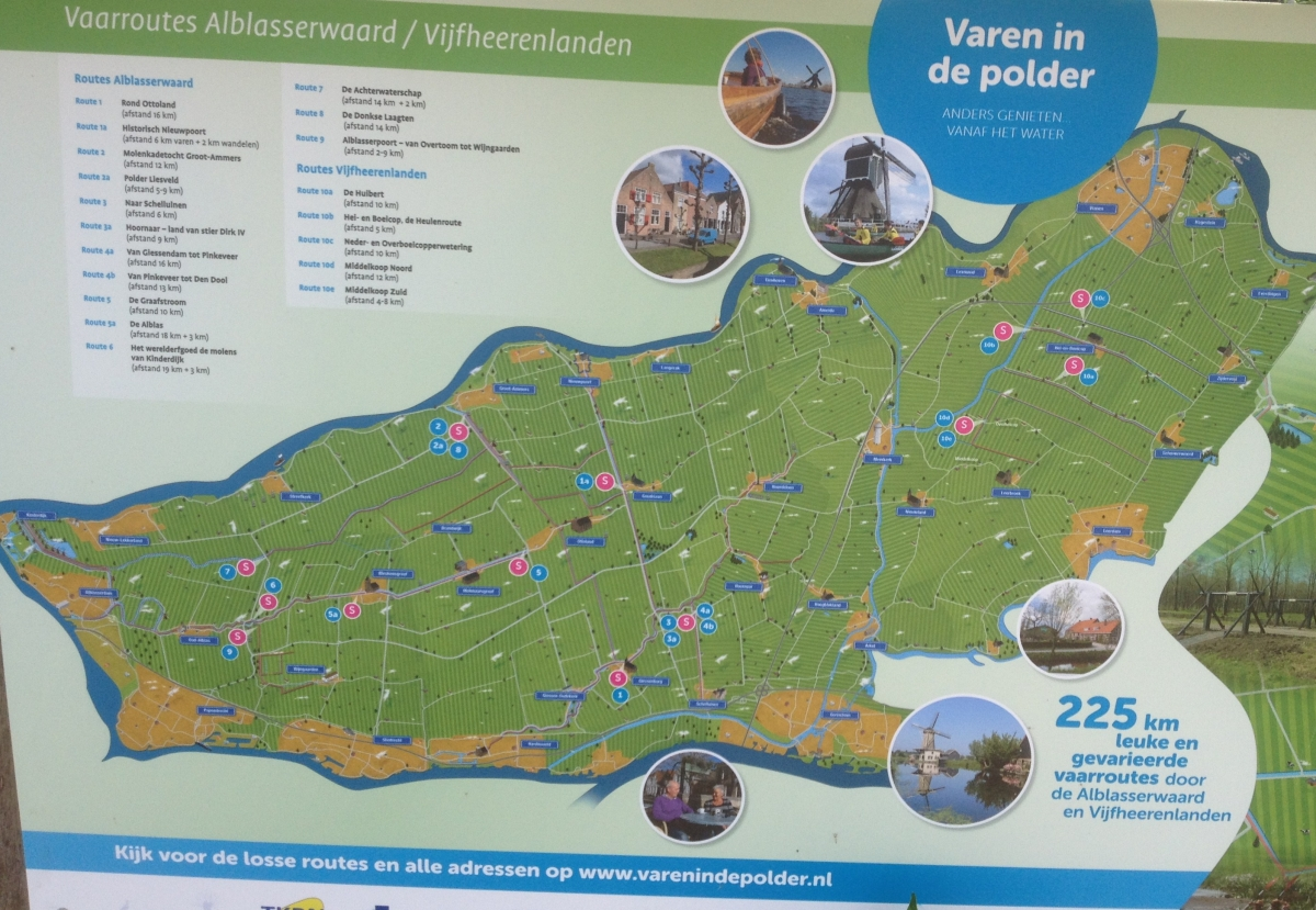 Signage advertising the paddle routes in the polder