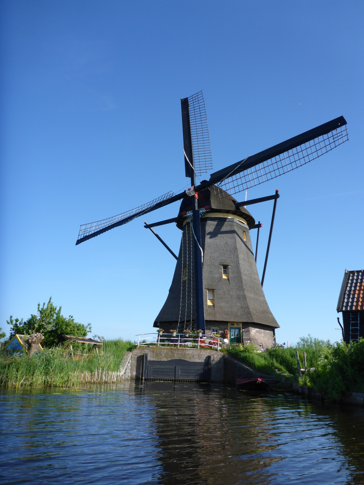Windmill on Kinderdijk Canal