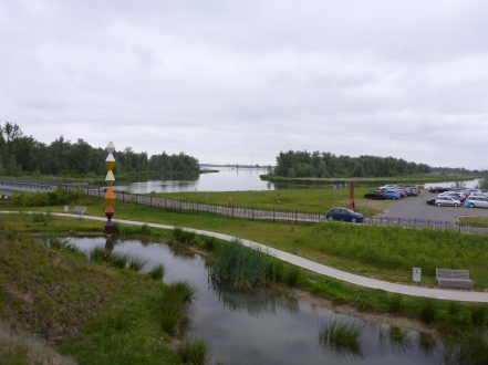Looking out over the Biesbosch, small pond in for ground is part of the roof of the Museum