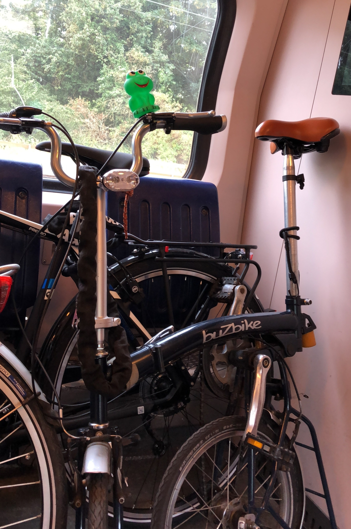 Several bikes on the train
