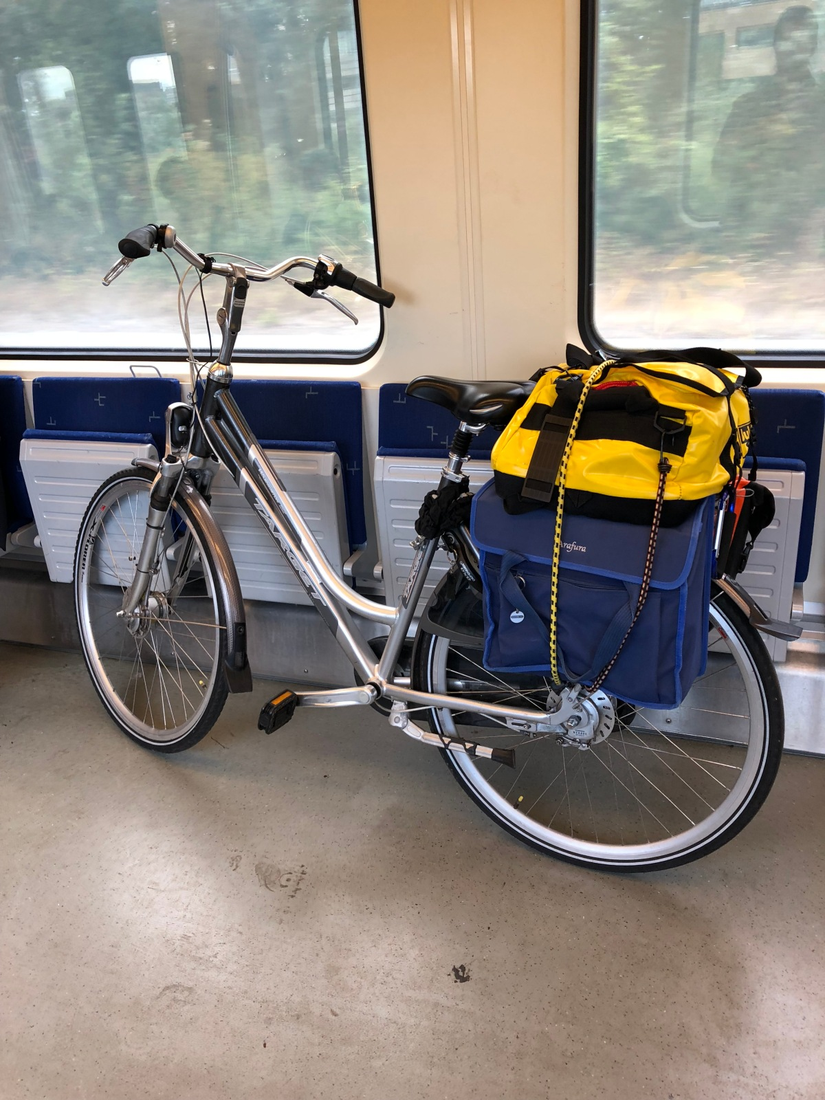 The loaded bike in the train heading for home