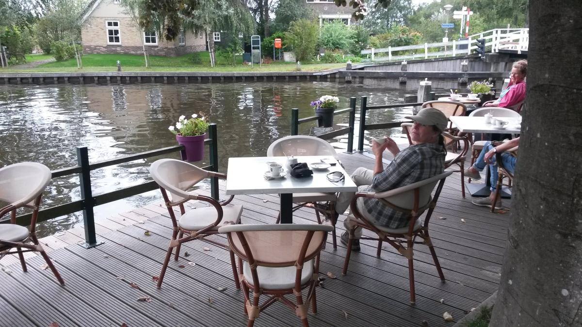Kalenberg, having coffee on the dock