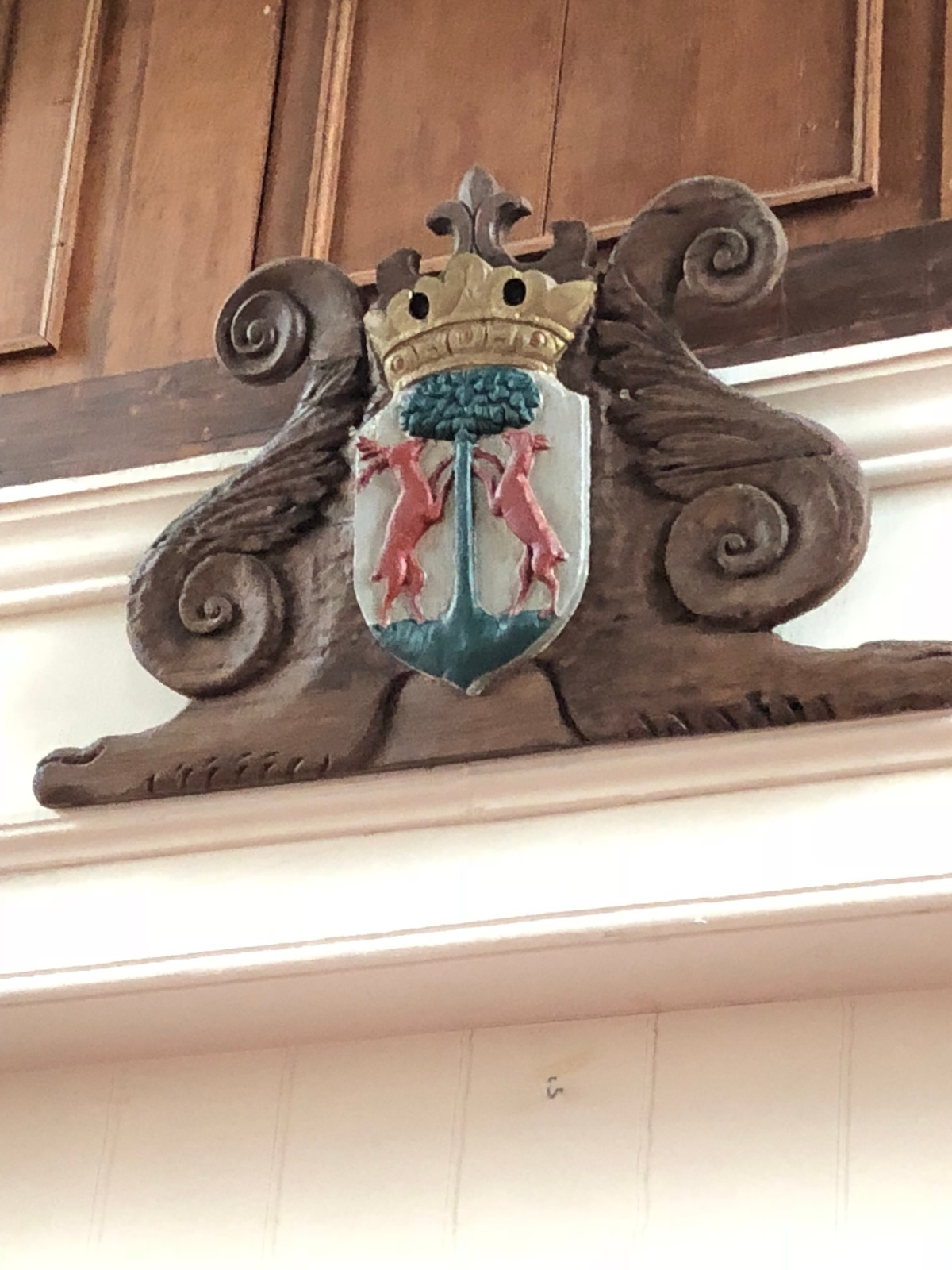 Old Crest made out of wood in the church