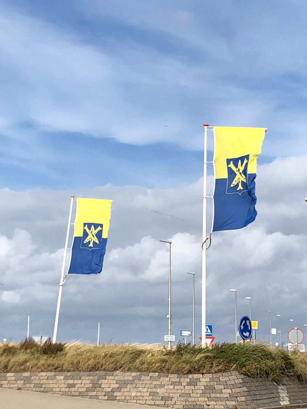 Zandvoort flags in the stiff wind