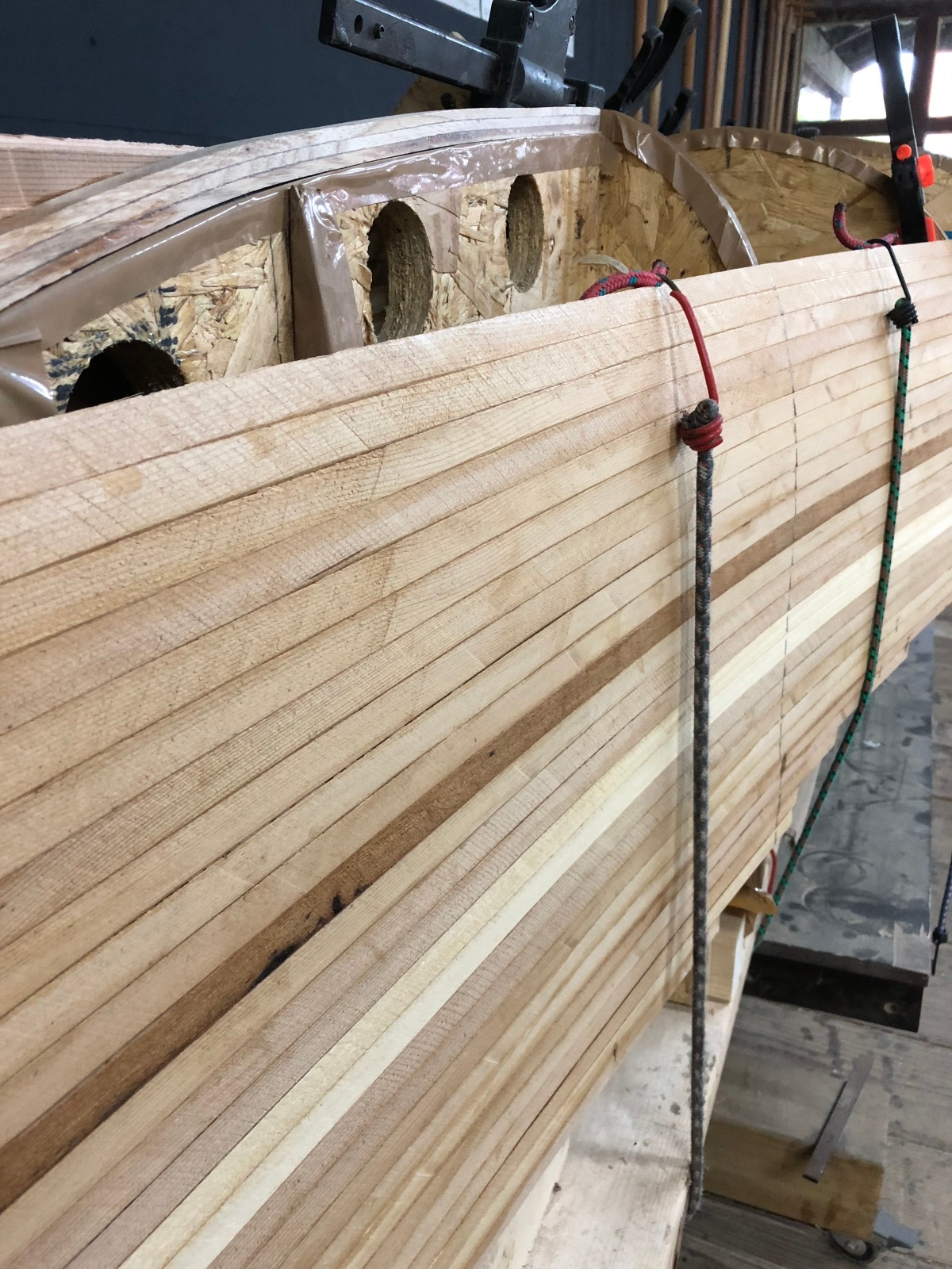Cedar Strip Canoe under construction