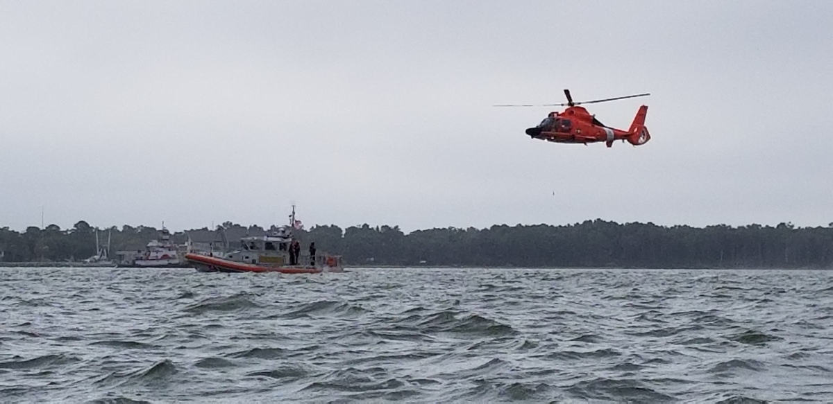 US Coast Guard Helicopter and Rescue Boat