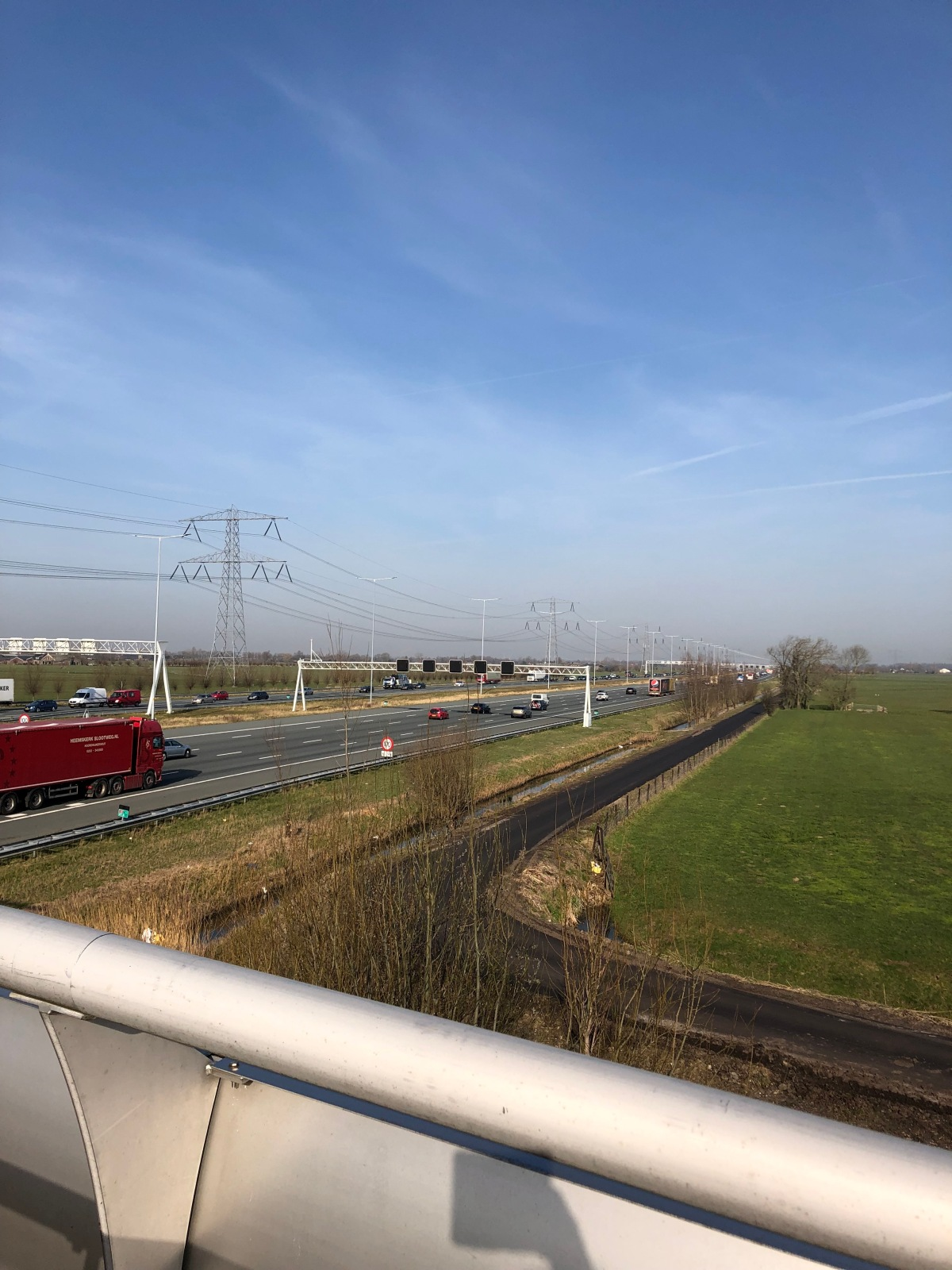 Looking over the 10 lane A2 highway.
