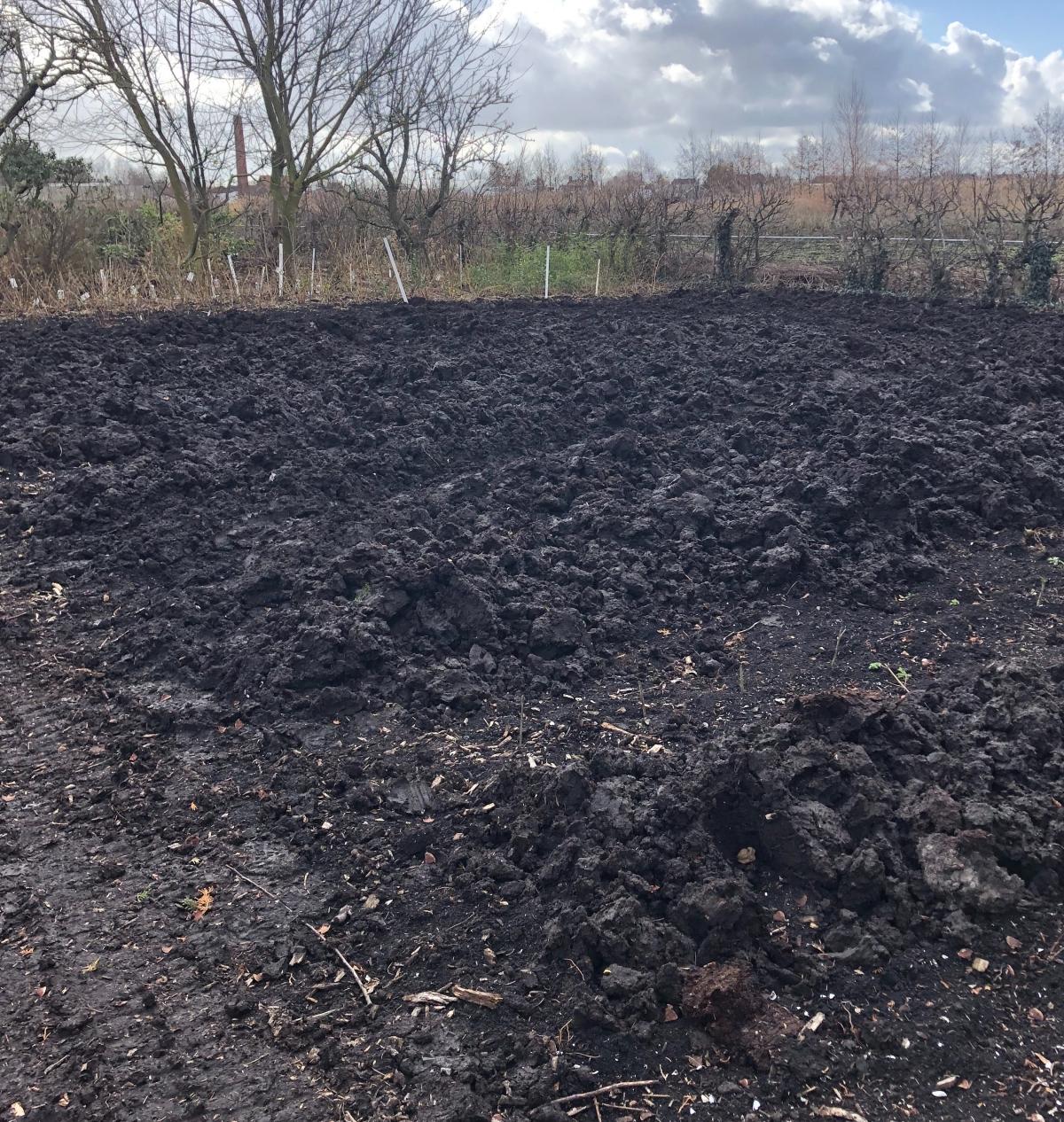 Piles of black Gouda dirt at the Historic Garden
