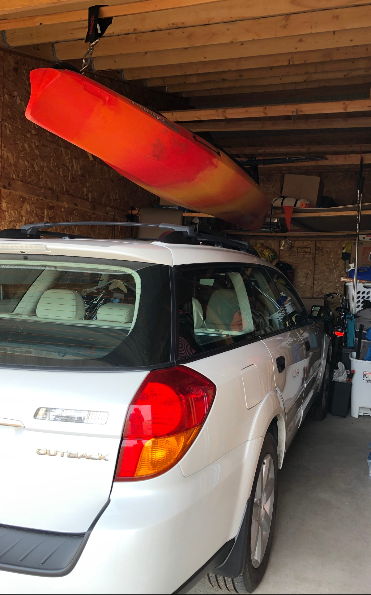 kayak in storage