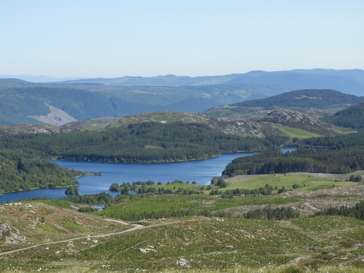 The view of Loch Knockie from the hiking trail summit.