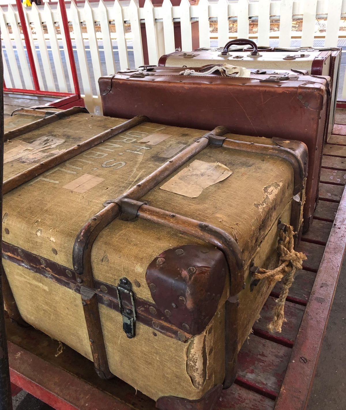 Old suitcases at the station