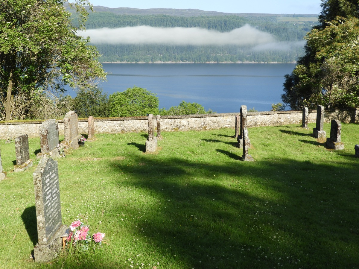 Early morning mist at the Frasier Cemetery. Looking towards Loch Ness