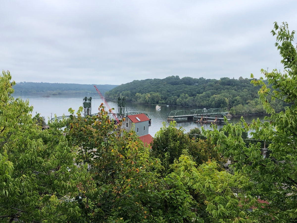 The view of the St Croix River looking North from the stairs Bluff in Stillwater