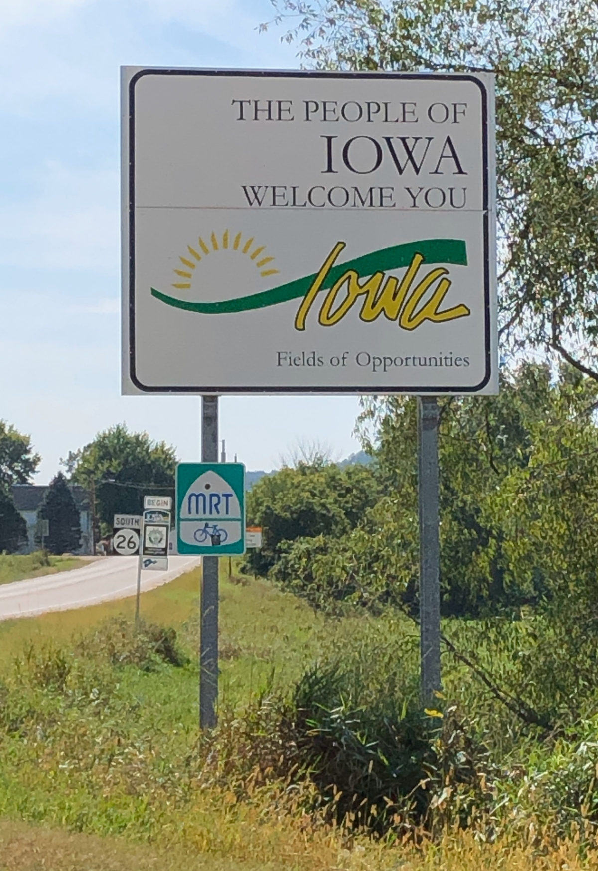Iowa Welcome Sign on HWY 26