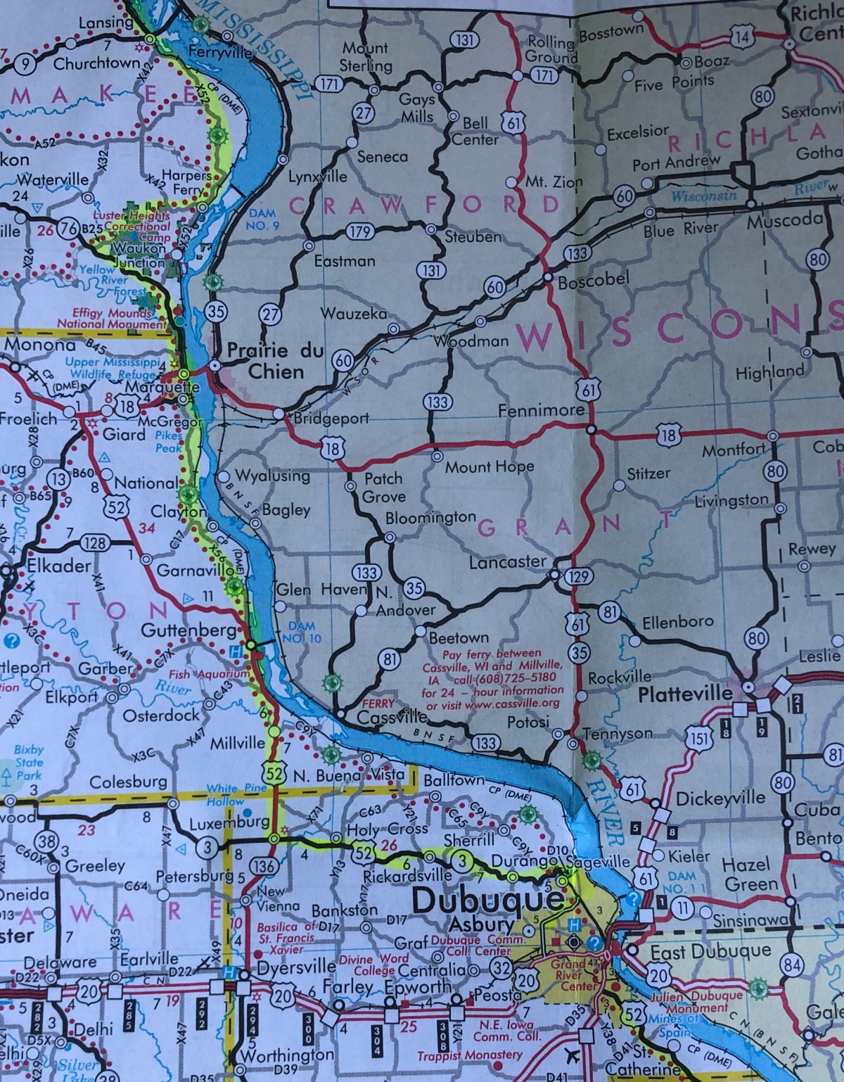 My Iowa route map along the Mississippi River
