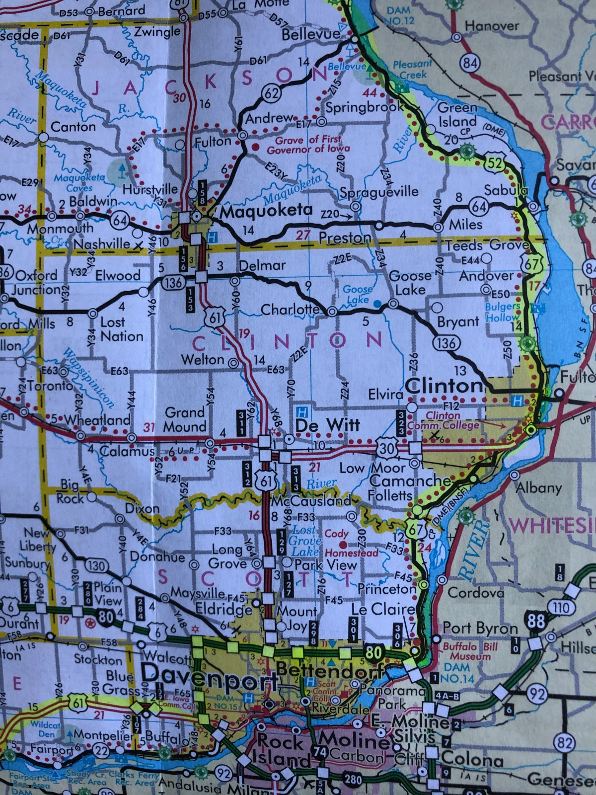 My route map for Day 5 in Iowa highlighted in yellow.