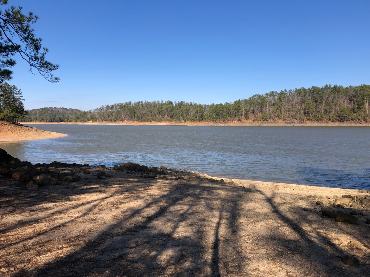 The afternoon sun casts long shadows on the Allatoona Lake beach in the remote part of the park.