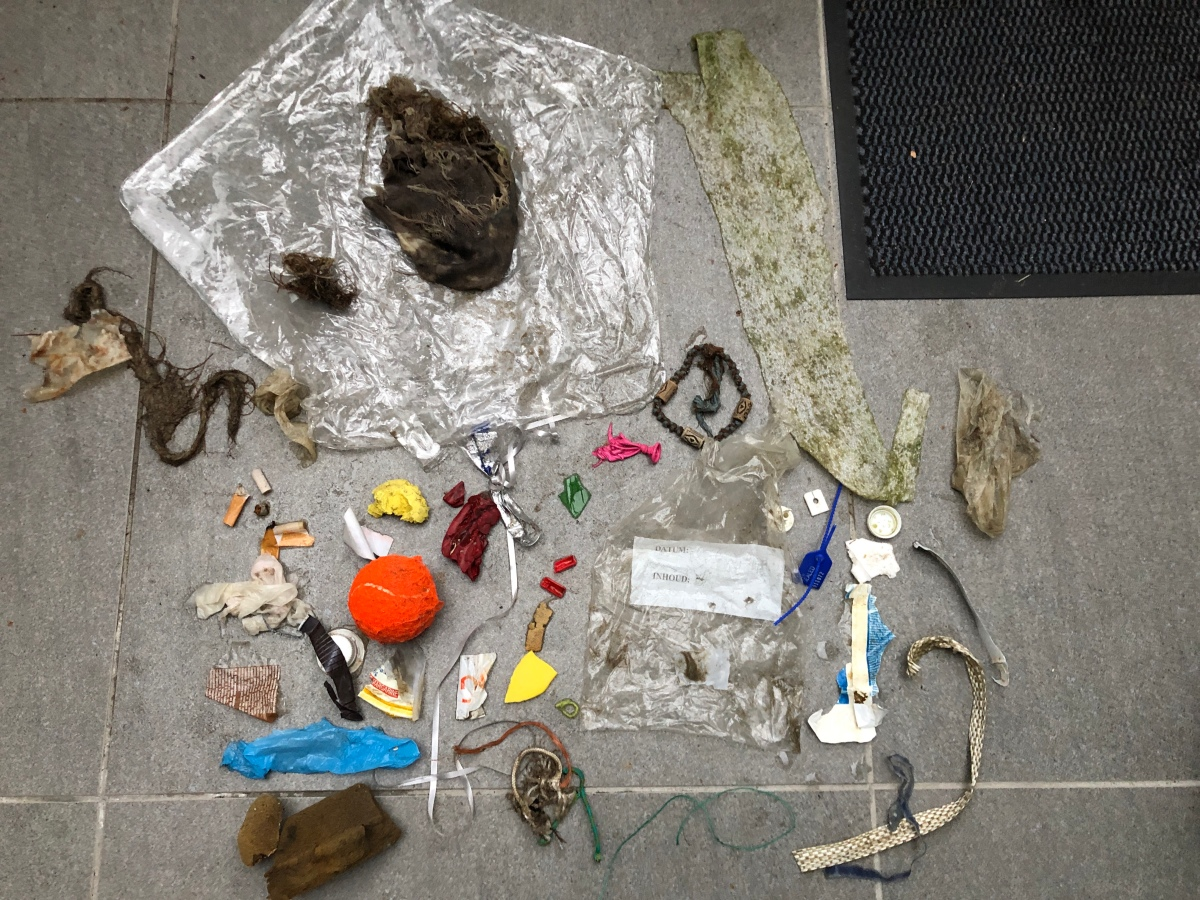 A collection of cleaned trashed items removed from the beach