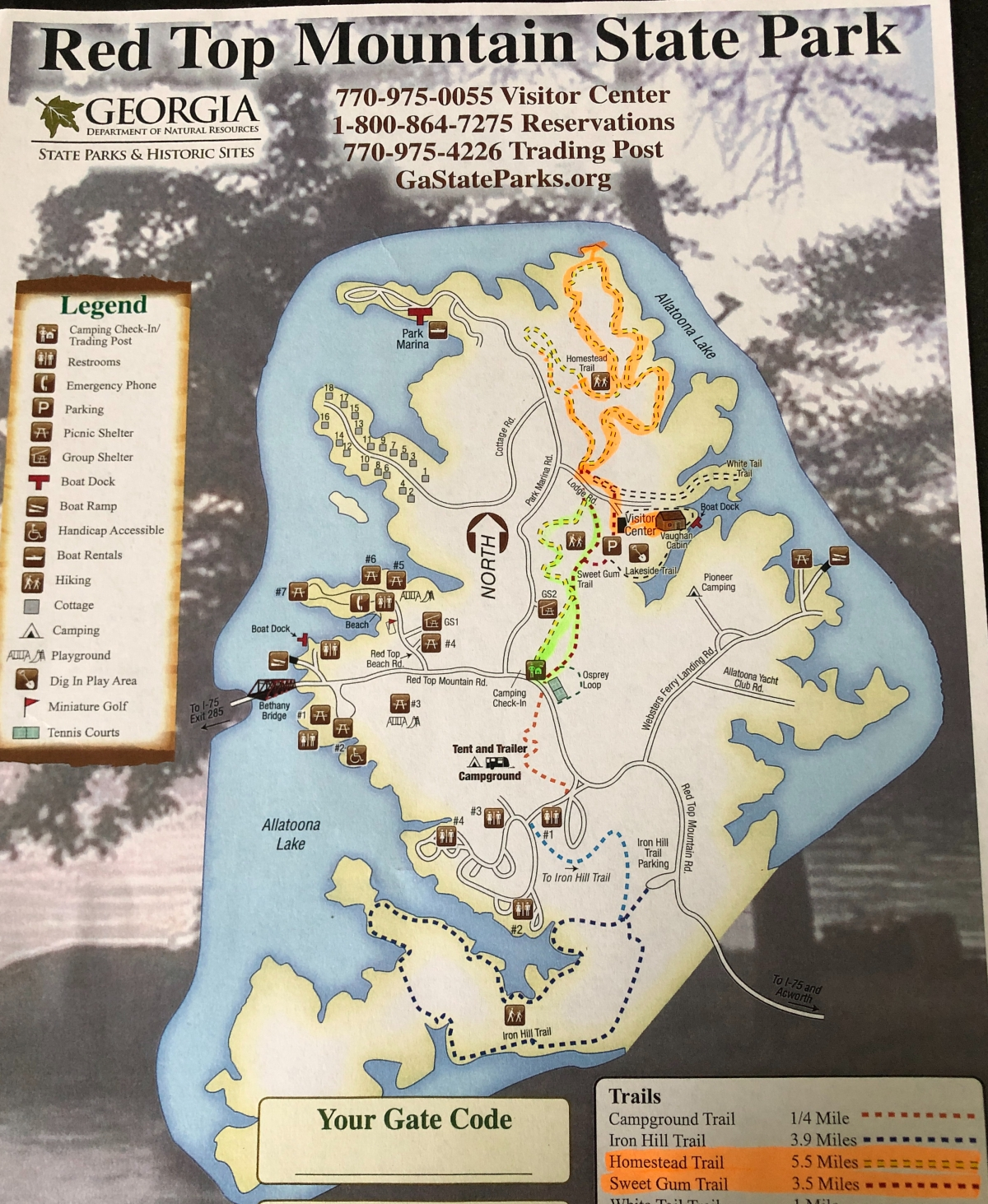 Red Top Mountain Park Map