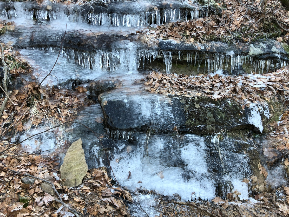 Icy waterfalls along the trail